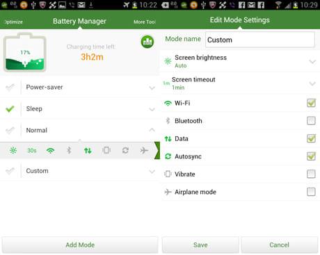 Android Booster FREE:「Battery Manager」画面。モードを選択すると、何が有効になるか表示される(左)「Custom」では有効にする機能を設定できる(右)