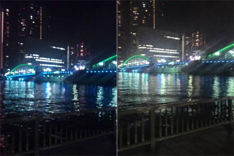 Night Camera:標準のカメラで撮影(左)本アプリで撮影(右)