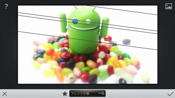Snapseed:コントロールポイントを動かして、フォーカスする領域を決定します