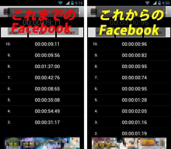新旧Facebookアプリの起動時間を比較