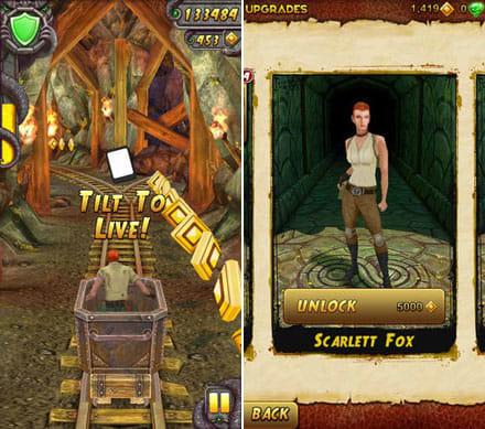 Temple Run 2:トロッコはスピード感が満点だ。(左)アンロックすることで4人のキャラクターを使用できる。(右)