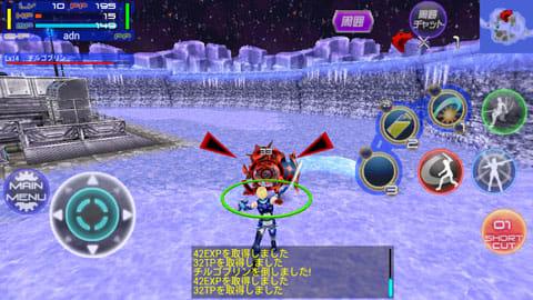 【無料RPG】ギャラクシーフロンティア【オンラインゲーム】:赤いボタンで攻撃できる。ショートカットの設定も可能