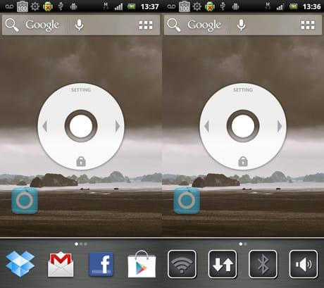 SwitchApps:サブランチャー画面。アプリの切り替え(左)端末機能のON/OFF(右)