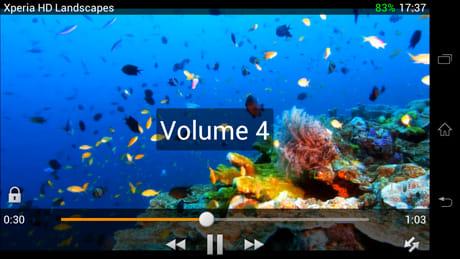 VLC for Android Beta:画面の右半分をスワイプすると音量調整ができる