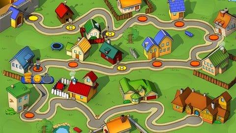 Robbery Bob Free:マップ形式のステージ選択画面も世界観をうまく表現している。