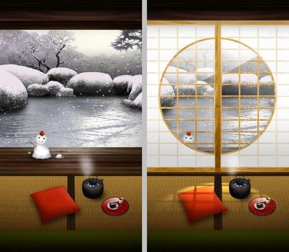 ZEN Garden -Winter- ライブ壁紙:有料版ならより味わいある壁紙を楽しめる