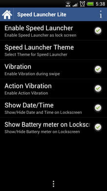 Speed Launcher LockScreen:「Settings」画面