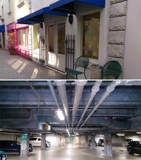 「おまかせオート」なら発色だけでなく、明るさもきれいにコントロールされる(上)ほとんど真っ暗な駐車場も手ブレせずに、これだけ明るく映し出せる(下)
