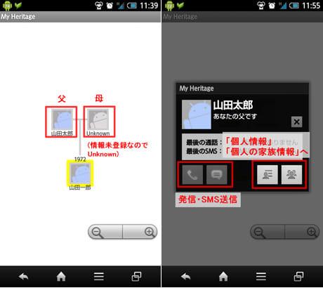 My Heritage (家系+記念日管理) :「T」をタップすると家系図が表示される(左)アイコンタップで電話発信等も可能(右)