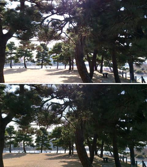 逆光時の通常のムービー撮影では、背景が白くなってしまう(上)HDRムービーなら、遠景や地面の色がしっかりと出る。しかも影の色の濃さは変わっておらず、単純に暗くしただけではないことがわかる(下)