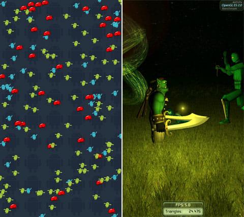 AnTuTu Benchmark:ドロイド君が飛び回る2Dテスト(左)忍者とモンスターが戦う3Dテスト(右)