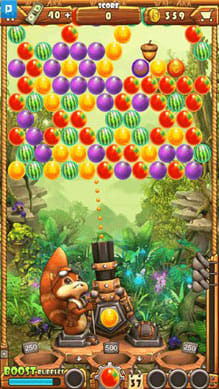 Acorn Buster:フルーツの塊目掛けてフルーツを発射しよう!