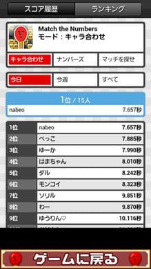 マッチ the Numbers:ポイント5