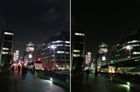 夜景を「ELUGA X P-02E」で撮影(左)「iPhone 5」で撮影(右)