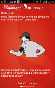Snapdragon™ BatteryGuru:初回起動時はチュートリアルで本アプリの機能を紹介