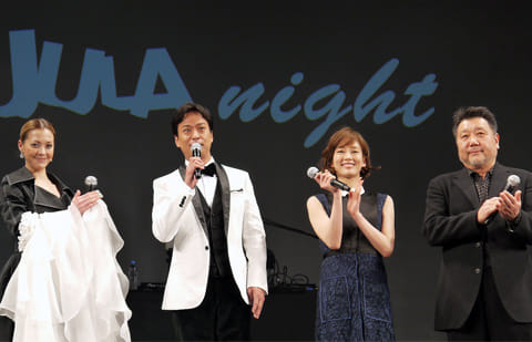 「RETURN」に出演する豪華キャストが登場。左から、土屋アンナ、椎名桔平、水川あさみ、原田眞人監督