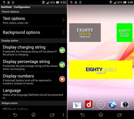 BattStatt Pro:設定画面(左)ウィジェットのサイズは3種類。フォントや背景なども変更できる(右)