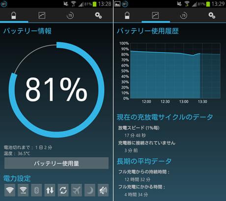 Battery Widget Reborn (BETA):バッテリー情報画面(左)バッテリー使用状況画面(右)
