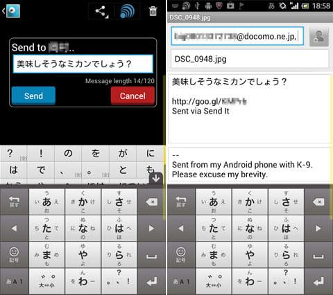Send It:あわせて送付するメッセージを入力(左)相手へ送付されるメッセージ(右)