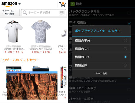 DicePlayer:縦画面なので、ブラウジングしながらでも動画を見られる(左)ウインドウのサイズ設定画面(右)