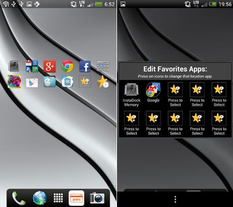 InstaDock App Organizer:ウィジェット内の右にあるドロワーアイコンから登録したアプリを選択できる(左)星アイコンをタップすると、アプリの登録ができる(右)