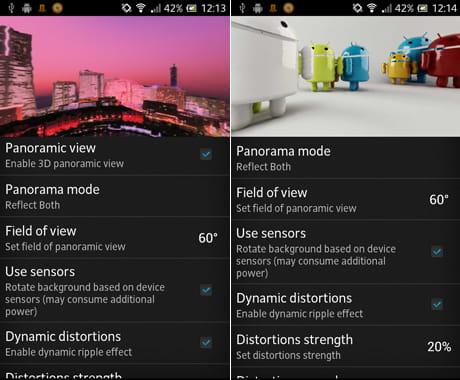 Panoramic Screen:設定画面(左)設定画面上の画像は、プレビューモードになっているので、実際の動きを確かめられる(右)