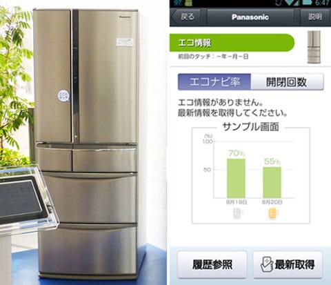 冷蔵庫にタッチすると、エコ情報が見られるようになる