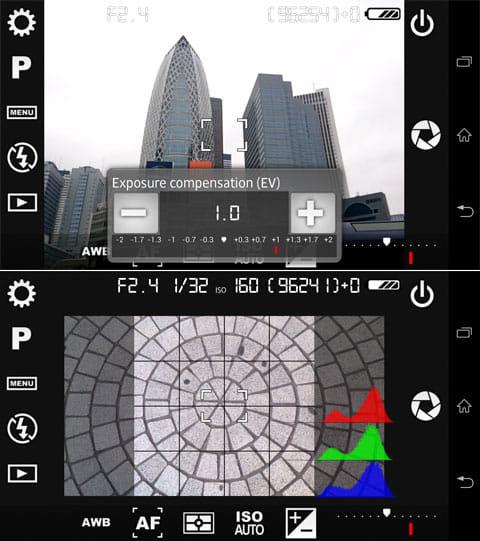 Camera FV-5 Lite:EV 補正(上)右の赤青緑がヒストグラム、中央がグリッドとスクエアになっている(下)