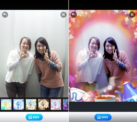 東京ディズニーリゾート30周年公式カメラアプリ ハピネスカム:写真を撮影して、エフェクトを選ぼう(左)アトラクションをモチーフにしたエフェクトを楽しめる(右)