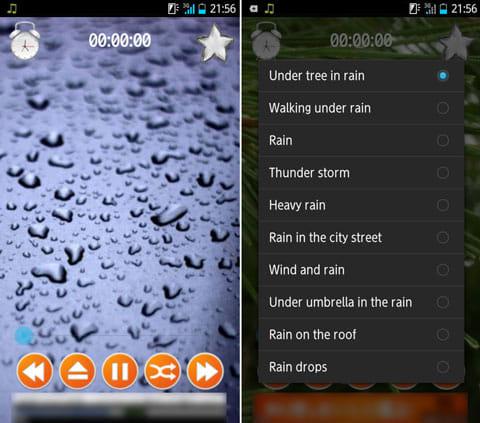 雨の音。リラックスして眠る。:雨音など、癒やしの睡眠導入音を流せる