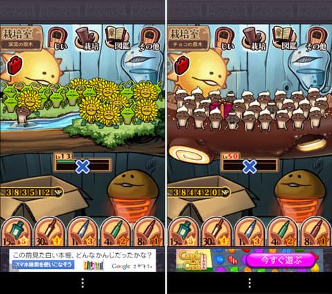 おさわり探偵 なめこ栽培キット Deluxe:ワラビとタンポポで春らしく、中州にオリジナルなめこを1本配置した「なめこ盆栽」。10時間で完成(左)バレンタインにはケーキ原木にクリーム頭のなめこが登場(右)
