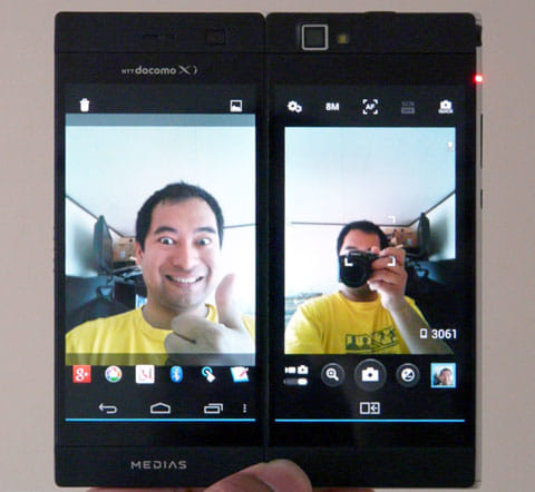 メイン画面に反転した画像がプレビュー表示される。撮影後のイメージを確認しながら撮ろう