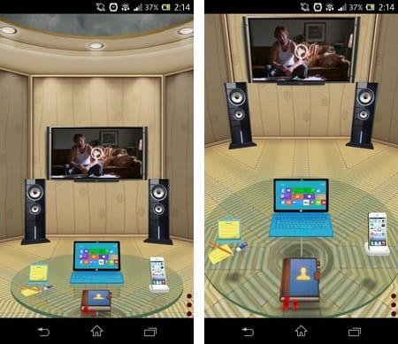 3Dホーム:テーブルはフリック操作でグルグル回転できる