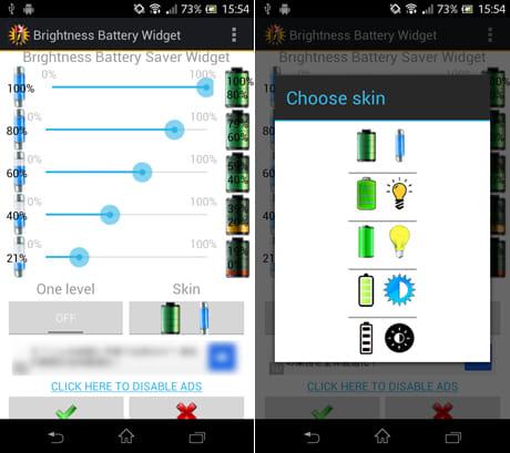 Brightness Battery Widget:設定画面(左)ウィジェットのデザインも変更できる(右)