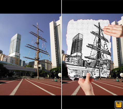 Camera Magic:加工前(左)加工後。紙に手が添えてあるのもポイント(右)
