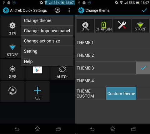 AntTek Quick Settings:メニュー画面(左)プルダウンメニューのデザインテーマを変更(右)