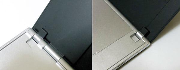 ヒンジ部を拡大。NECの折りたたみケータイで培ってきたノウハウがダブルディスプレイを支えている
