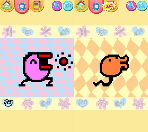たまごっち スマホで発見!!:ももいろたまごっち(左)おれんじにょろっち(右)