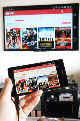 Androidスマートフォンの画面とテレビの大画面が見事にリンク!