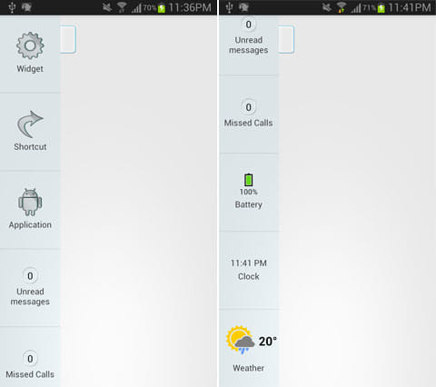 Overlays:アイテムの一覧(左)バッテリー残量や時計、天気予報も表示可能(右)
