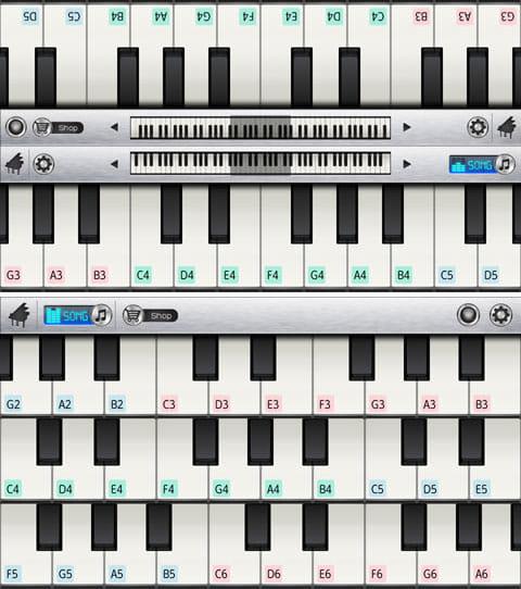 Pianist HD - あなたのためのピアノ:「キーボード オプション」の「ミラー」を選択(上)「トリプル」を選択(下)