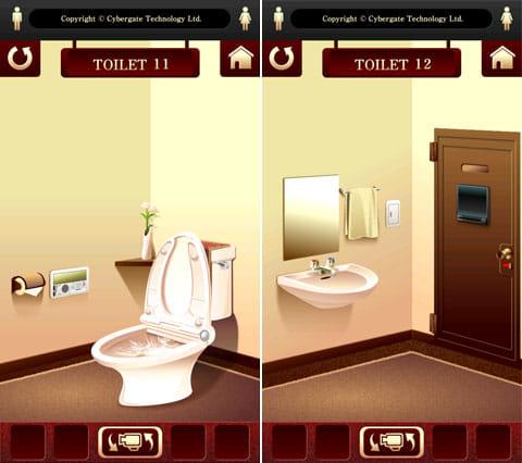 """脱出ゲーム """"100 Toilets"""":すごい勢いで水が流れる便器(左)扉についているモニターが怪しい…(右)"""