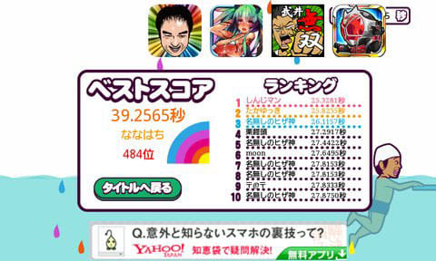 ヒザ神 スイミング!暇つぶしお手軽☆お笑いネタ ゲーム!!:ランキング上位を目指そう。