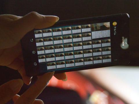 連写で撮影した画像がアルバムにズラッと並ぶ