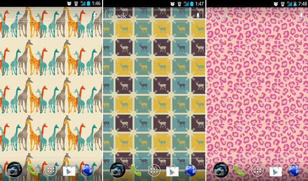 Pattern Wallpapers:「Giraffe 4 a baby boy」(左)「Deer for a baby boy」(中)「My Pink Panther」(右)