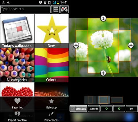 壁紙アプリ - 背景 - 画像 Backgrounds:カテゴリ選択画面(左)壁紙の形式を選択できる(右)