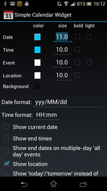 Simple Calendar Widget:設定画面