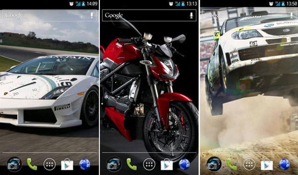 壁紙アプリ - 背景 - 画像 Backgrounds:「Lamborghini」(左)「Bikes」(中)「CMR Dirt」(右)から選択