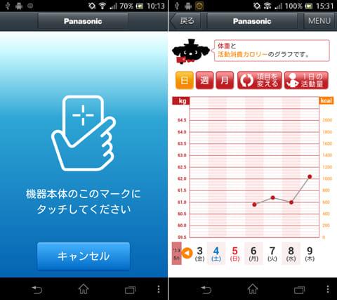 Smart Diet:『パナソニック スマート アプリ』をインストールしてスマホを体組成バランス計にかざす(左)日々の記録をいつでも確認できる(右)