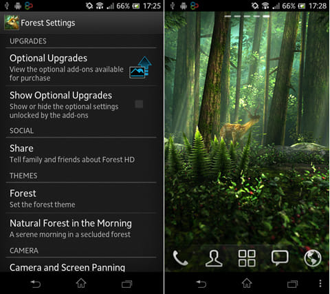 Forest HD:設定画面(左)鹿や小鳥、山小屋など美しい森の風景が堪能できる(右)